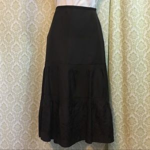 NWOT Ann Taylor silk embroidered tiered skirt